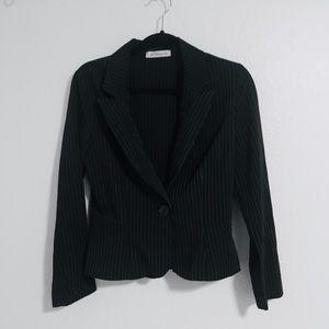 Women's Black Pinstriped Blazer Jacket